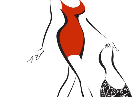 silhouette of slender woman running in a hat and red dress