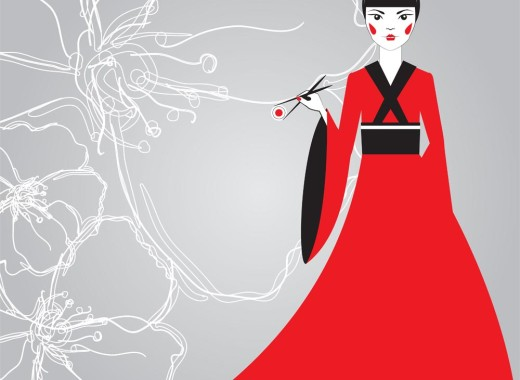 Beautiful Japanese woman in a red kimono holding sushi with chopsticks on a background linear cherry blossoms. The advertising character. The concept for the menu sushi bar.